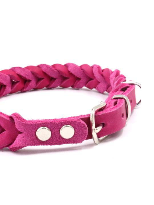 Lederhalsband Anchor pink nah