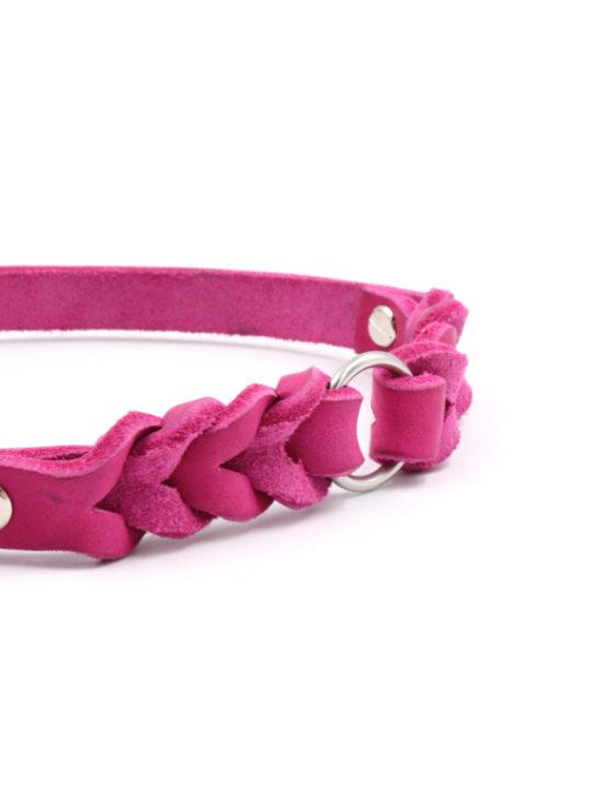 Lederhalsband Haven Pink nah